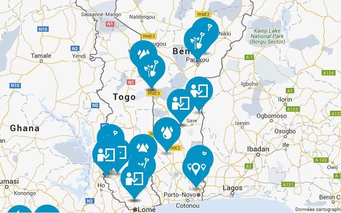 La carte des projets que nous allons visiter au Togo